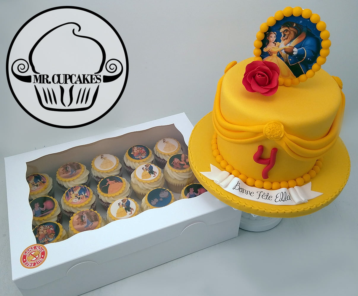 Beauty and the Beast cake and cupcakes